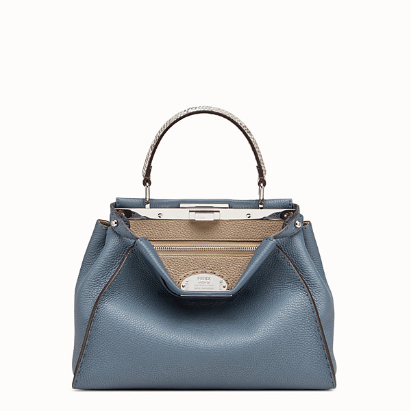 FENDI PEEKABOO REGULAR - Blue leather bag with exotic details - view 1 small thumbnail