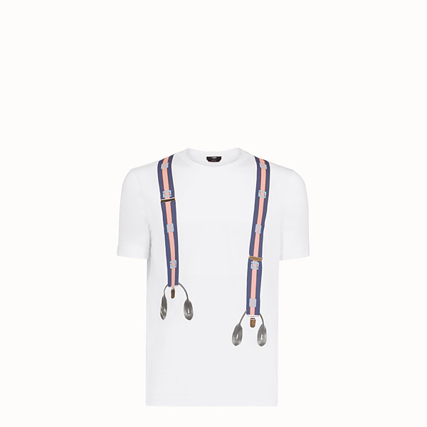 FENDI T-SHIRT - White cotton T-shirt - view 1 small thumbnail
