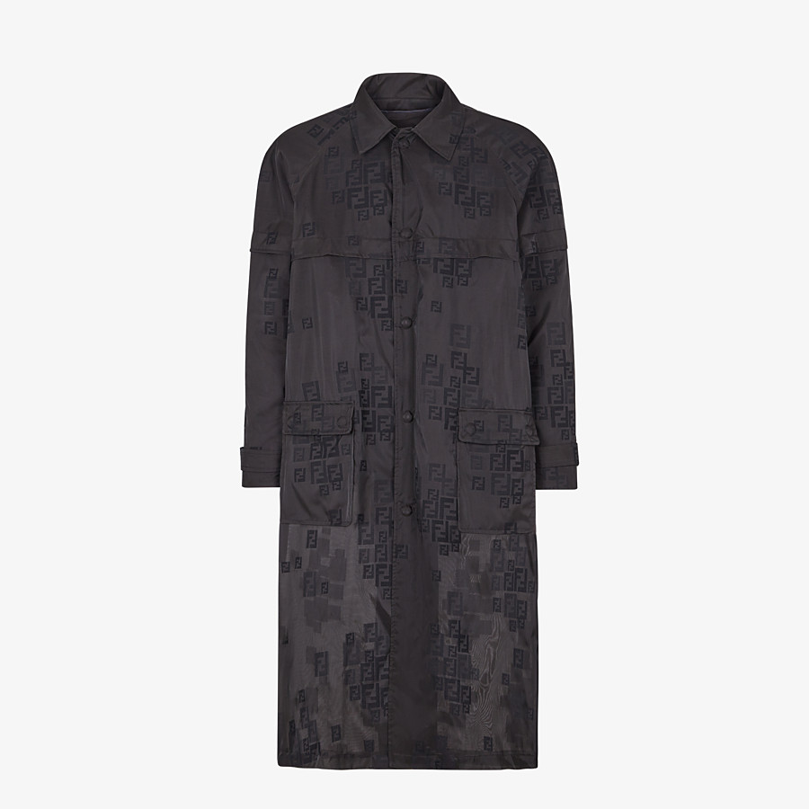 FENDI PARKA - Black organza trench coat - view 1 detail