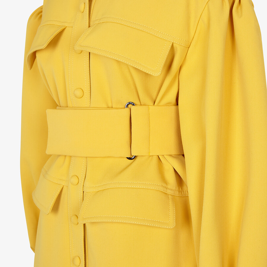 FENDI COAT - Yellow gabardine coat - view 3 detail