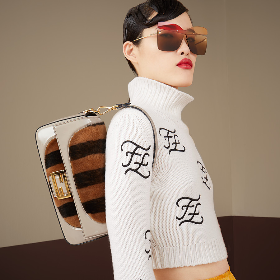 FENDI BAGUETTE - Multicolour, patent leather and sheepskin bag - view 2 detail