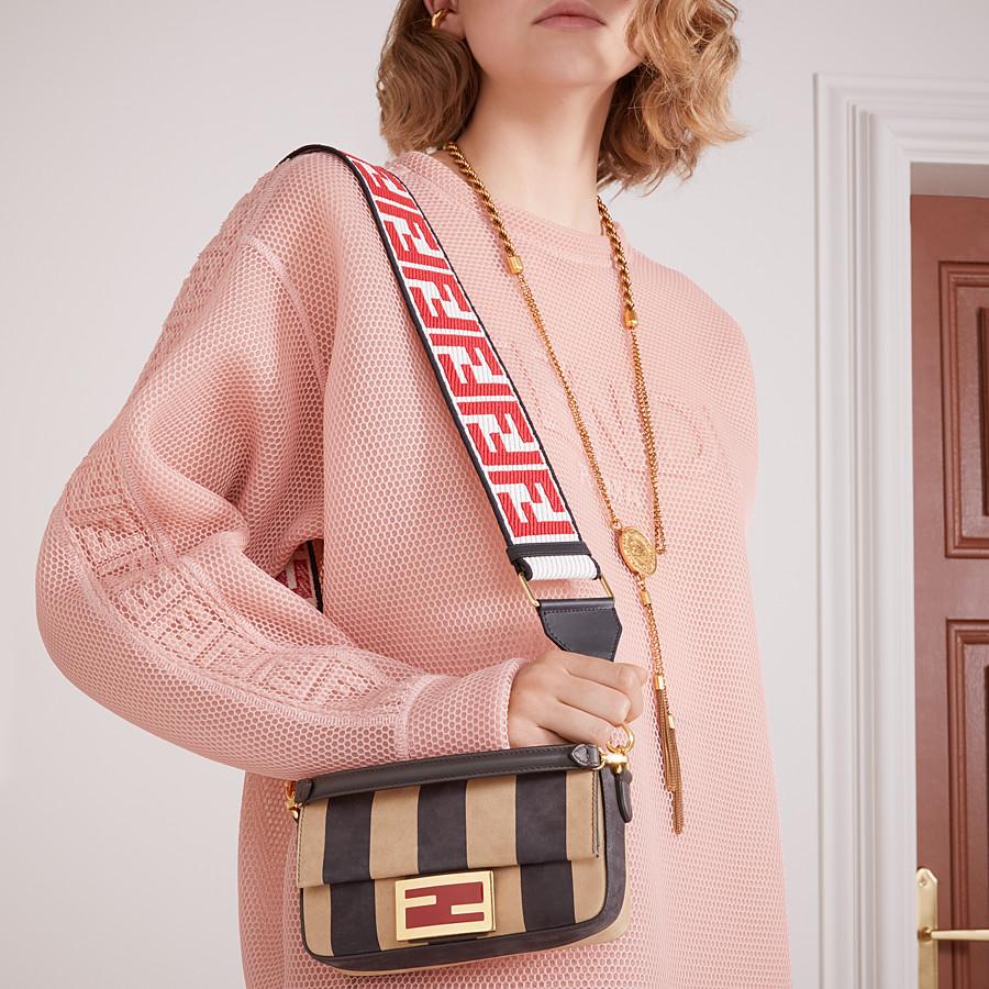 FENDI BAGUETTE - Brown nubuck leather bag - view 2 detail