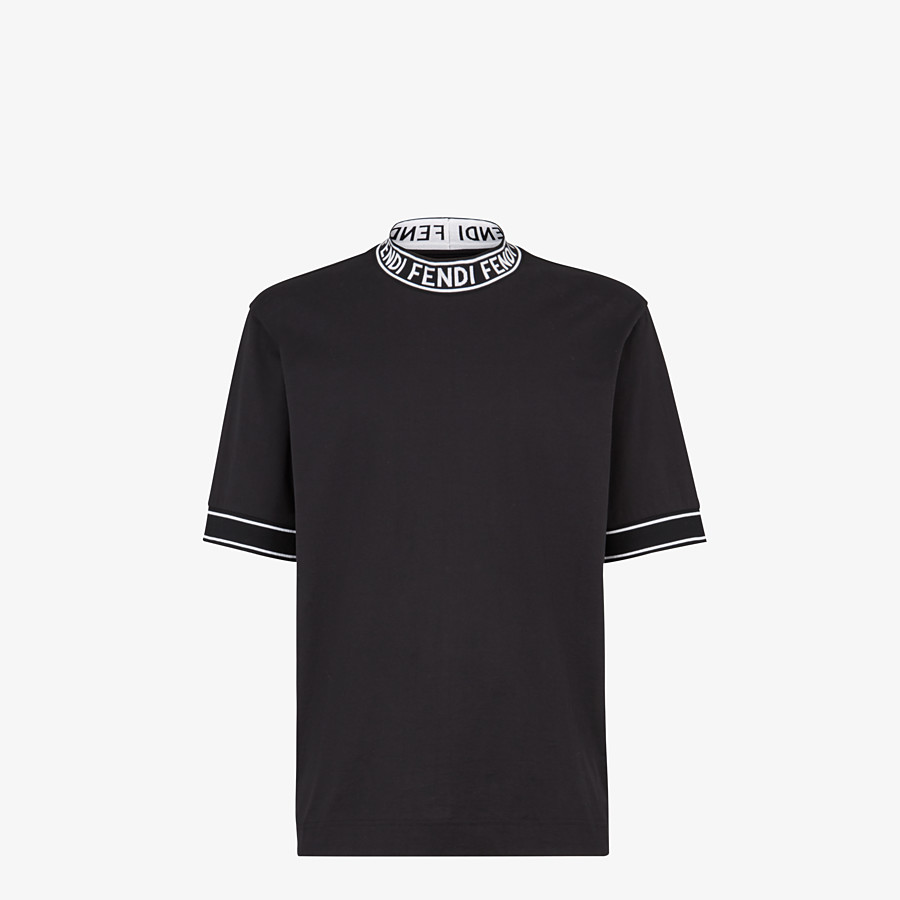 FENDI T-SHIRT - Black cotton T-shirt - view 1 detail