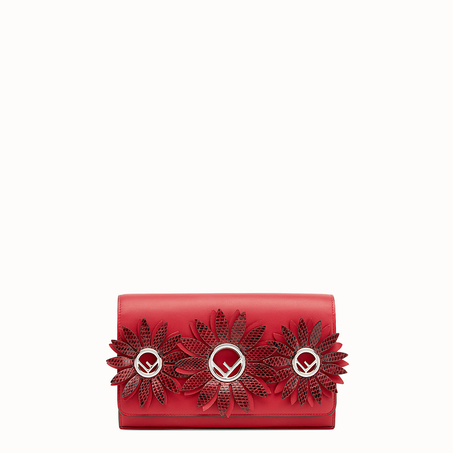 FENDI WALLET ON CHAIN WITH LOGO - Exotic red leather mini-bag - view 1 detail
