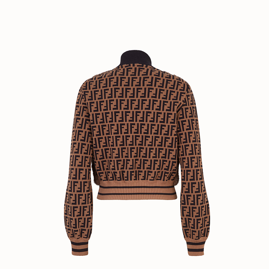 FENDI BOMBER - Inlaid mink and knitted fabric bomber - view 2 detail