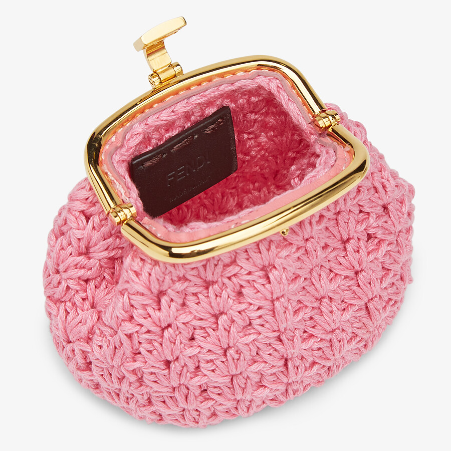 FENDI COIN PURSE - Pink lace coin purse - view 3 detail