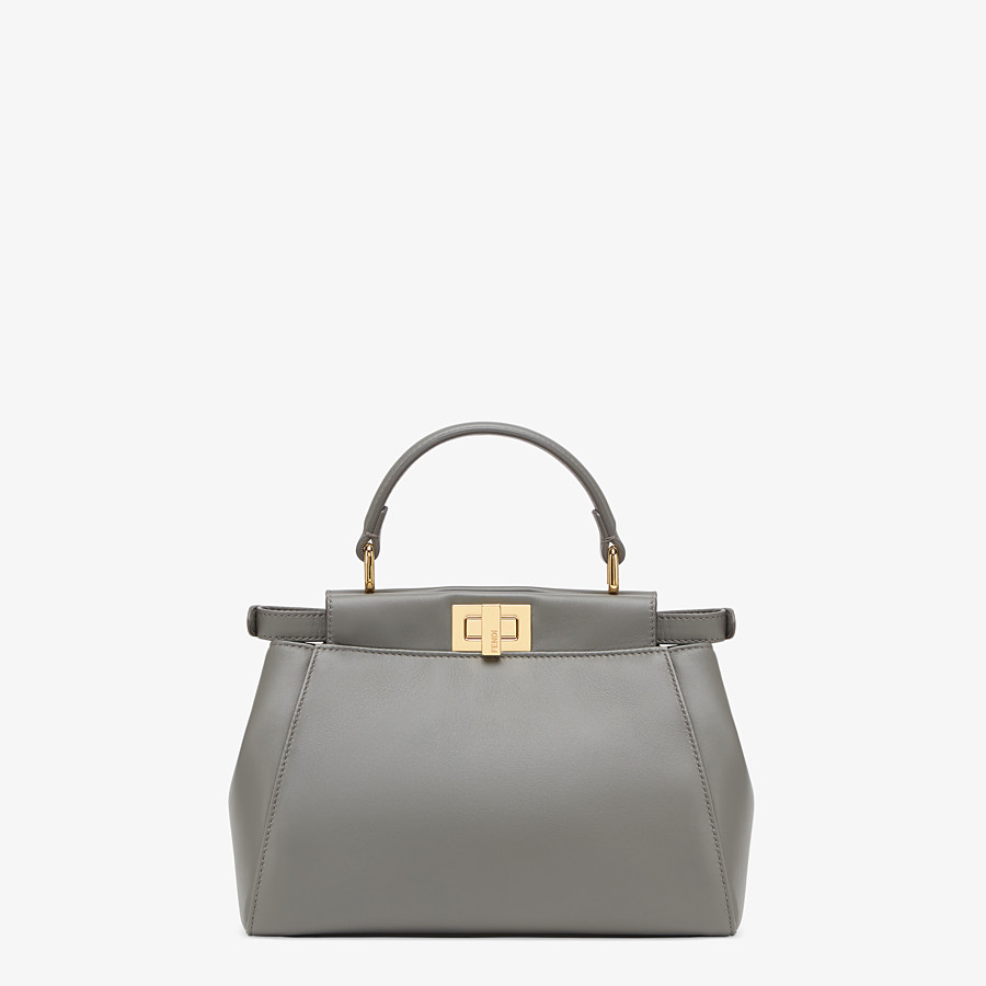 FENDI PEEKABOO ICONIC MINI - Grey nappa leather bag - view 4 detail
