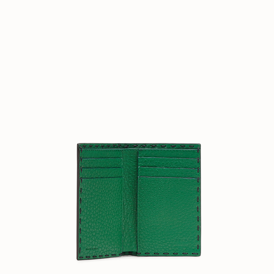 FENDI CARD HOLDER - Blue Romano leather card holder - view 3 detail