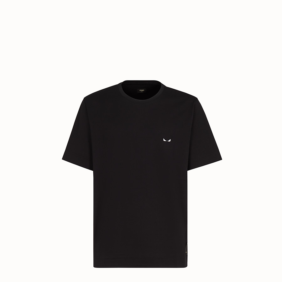 FENDI T-SHIRT - Black fabric T-shirt - view 1 detail