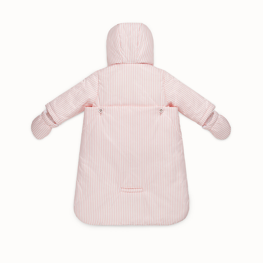 FENDI FOOTMUFF - Baby girl's striped ivory and pink padded footmuff - view 2 detail