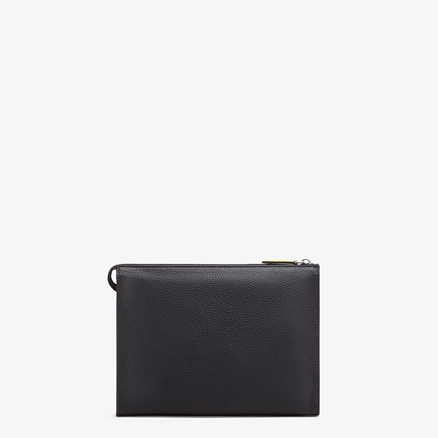 FENDI CLUTCH - Black leather slim pouch - view 3 detail