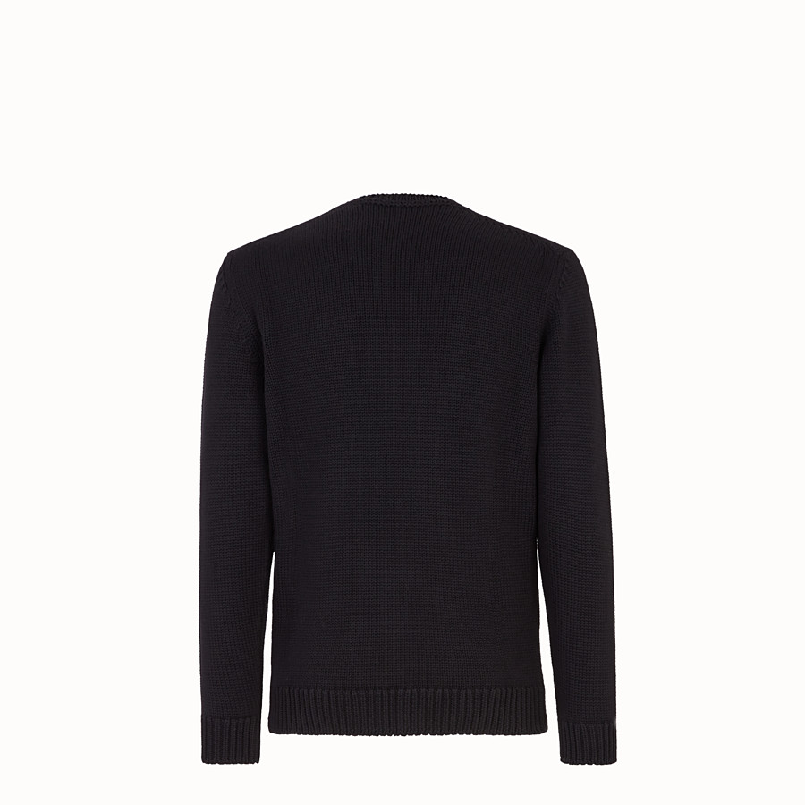 FENDI PULLOVER - Black and red wool round-neck pullover - view 2 detail
