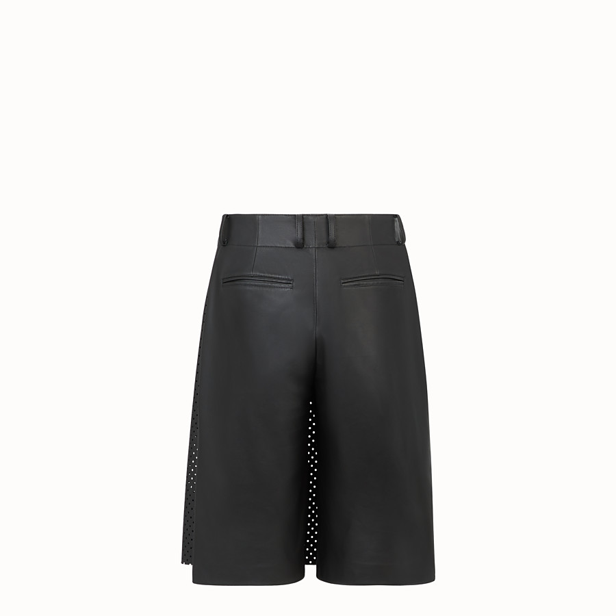 FENDI TROUSERS - Black leather bermudas - view 2 detail