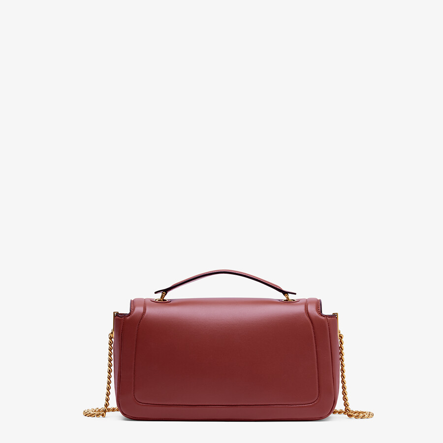 FENDI BAGUETTE CHAIN - Red nappa leather bag - view 3 detail