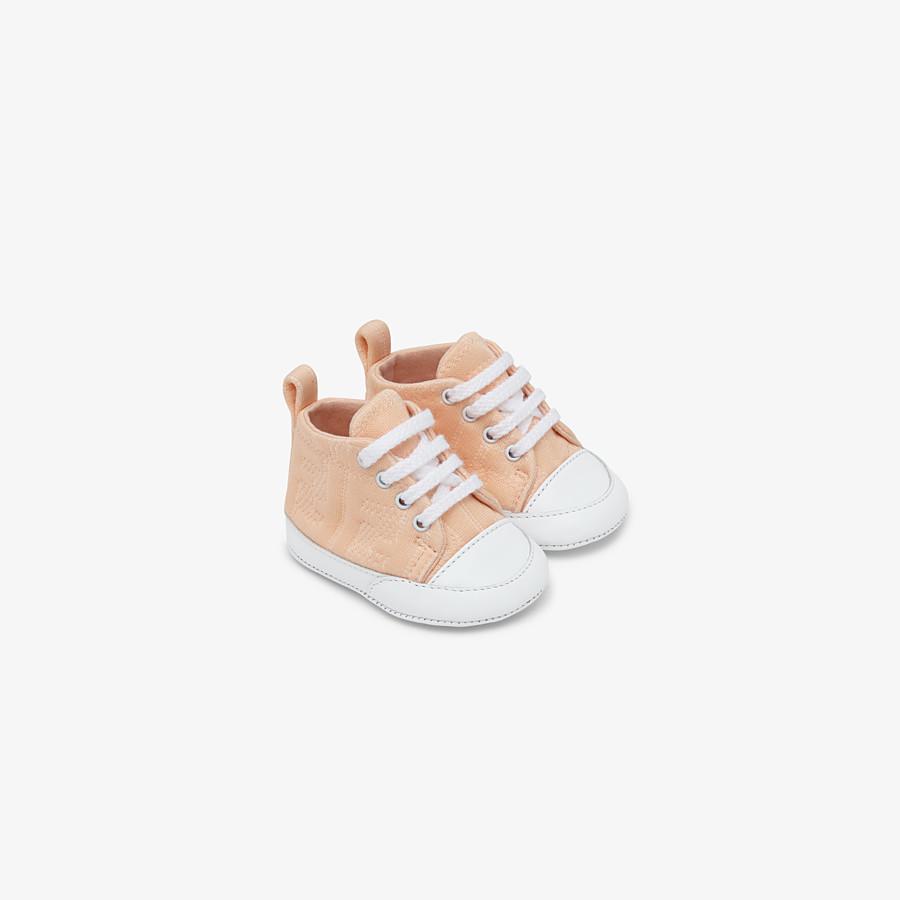 FENDI SNEAKERS - Marzipan colour cotton baby sneakers - view 1 detail