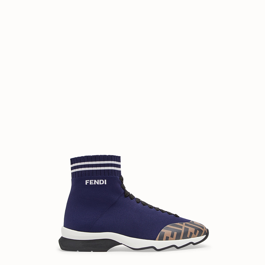 FENDI SNEAKERS - Blue fabric sneaker boots - view 1 detail
