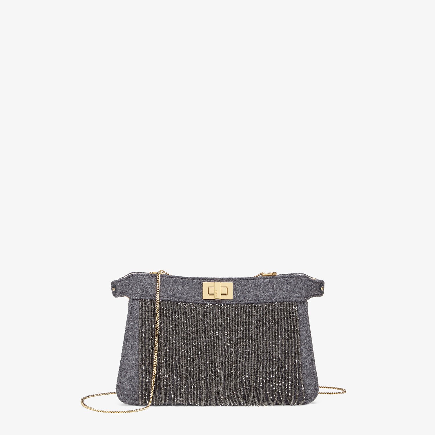 FENDI PEEKABOO ISEEU POCHETTE - Gray flannel bag with fringes - view 1 detail