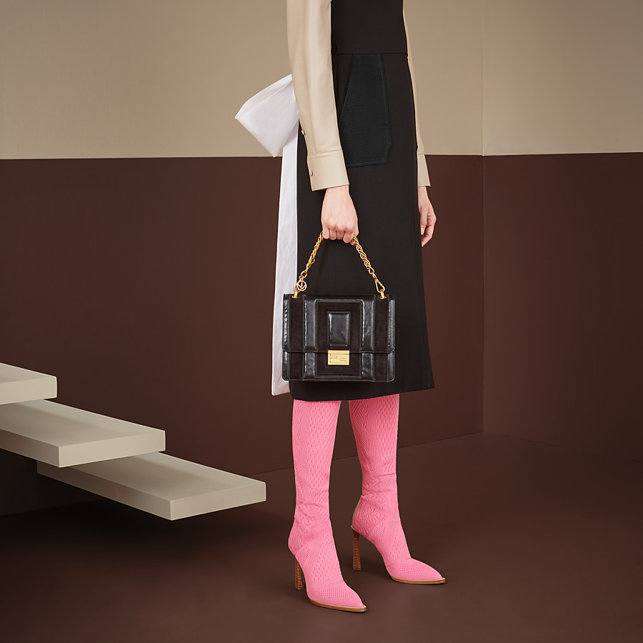 FENDI KAN U - Black leather and suede bag - view 2 detail