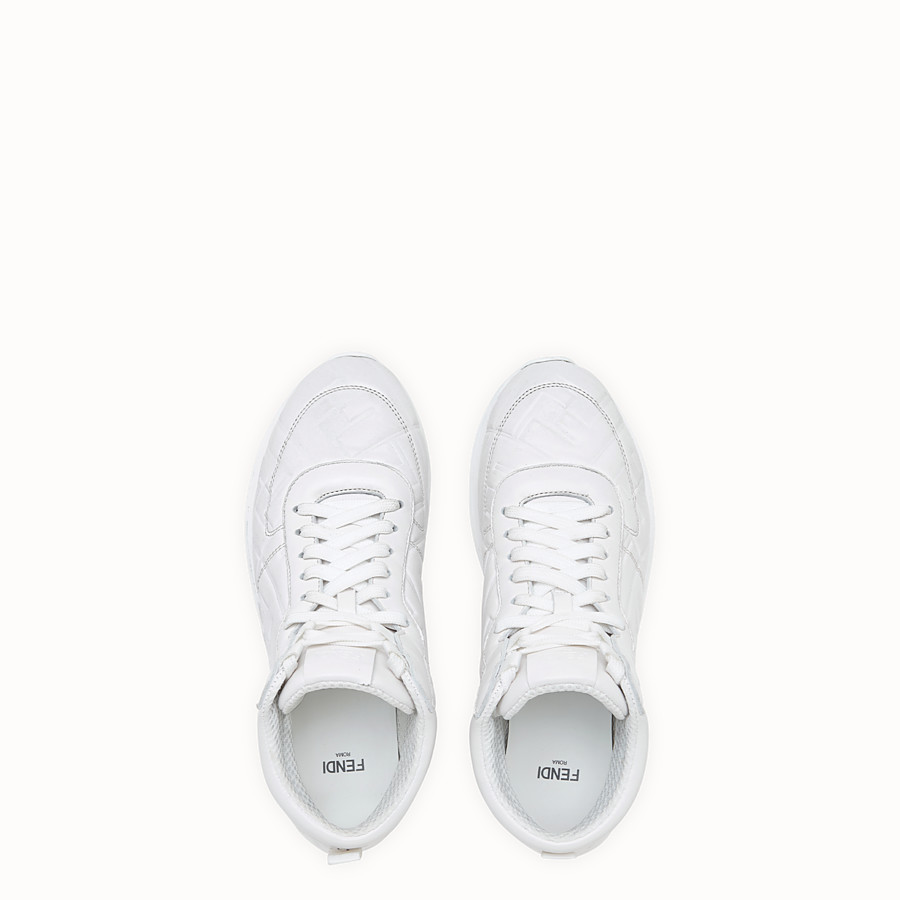 FENDI SNEAKERS - White nappa leather high-tops - view 4 detail