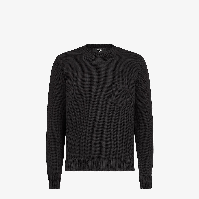 FENDI SWEATER - Black cotton and silk sweater - view 1 detail