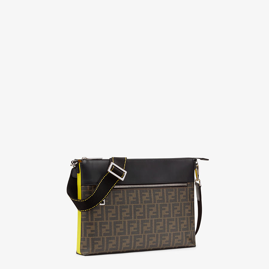 FENDI MESSENGER - Brown fabric slim pouch - view 2 detail