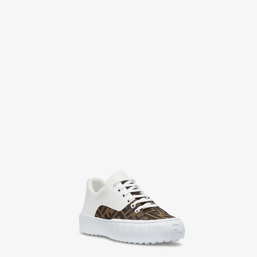 FENDI FENDI FORCE - Brown fabric and leather low tops - view 2 detail