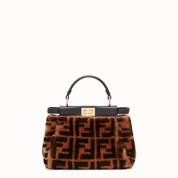FENDI PEEKABOO ICONIC MINI - Sac en peau de mouton marron - view 1 small thumbnail