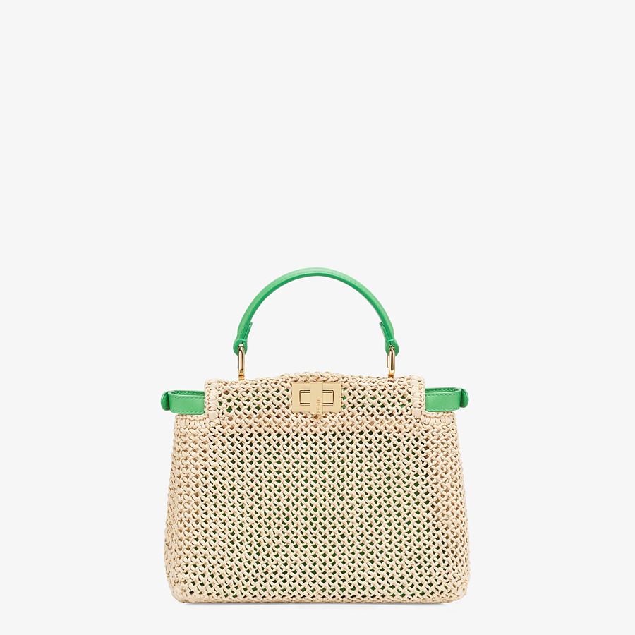 FENDI PEEKABOO ICONIC MINI - Natural raffia bag - view 4 detail