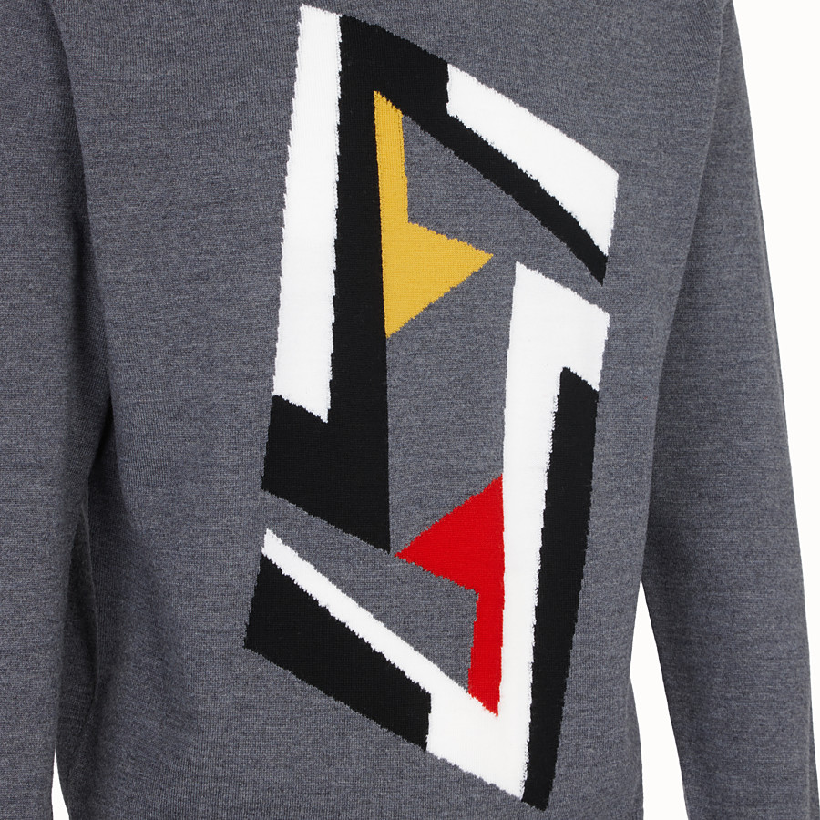 FENDI PULLOVER - Grey wool jumper - view 3 detail