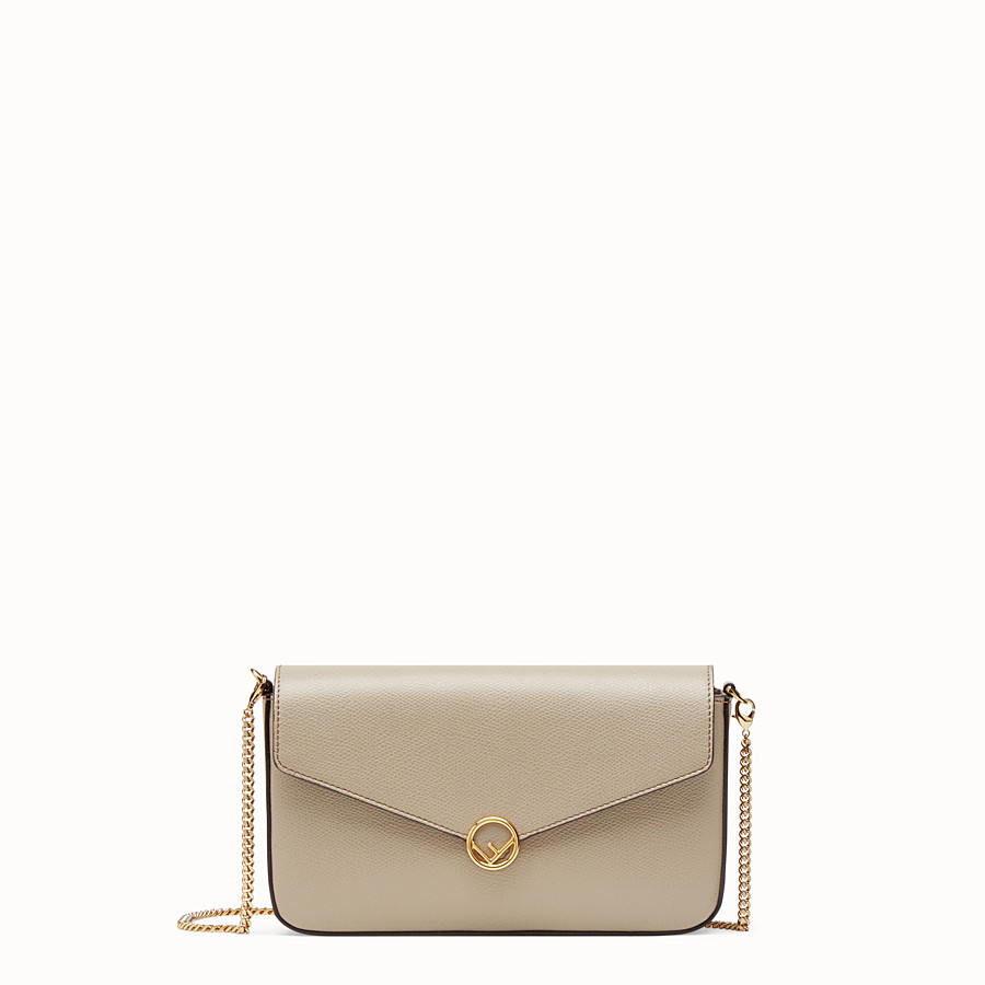 FENDI WALLET ON CHAIN WITH POUCHES - Beige leather minibag - view 1 detail