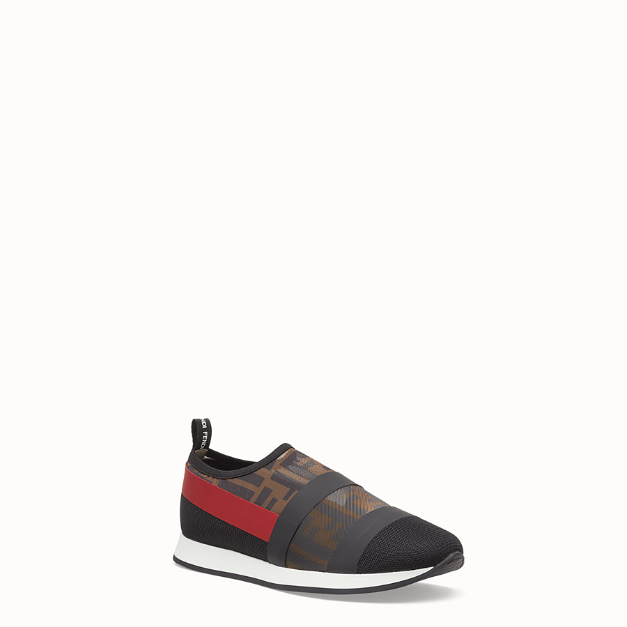 FENDI SNEAKERS - Multicolour mesh and tulle slip ons - view 2 detail