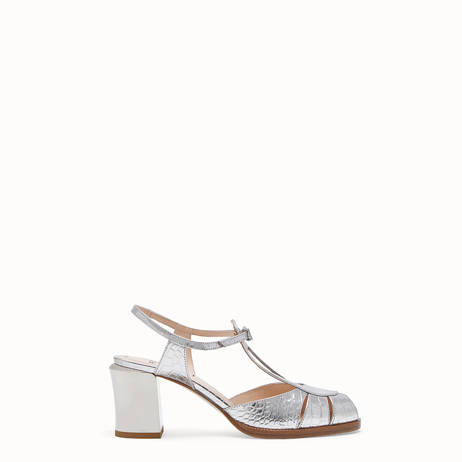 FENDI SANDALS - Silver leather sandals - view 1 detail