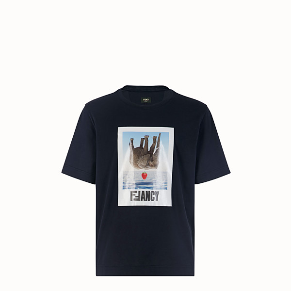 FENDI T-SHIRT - T-shirt in cotone blu - vista 1 thumbnail piccola