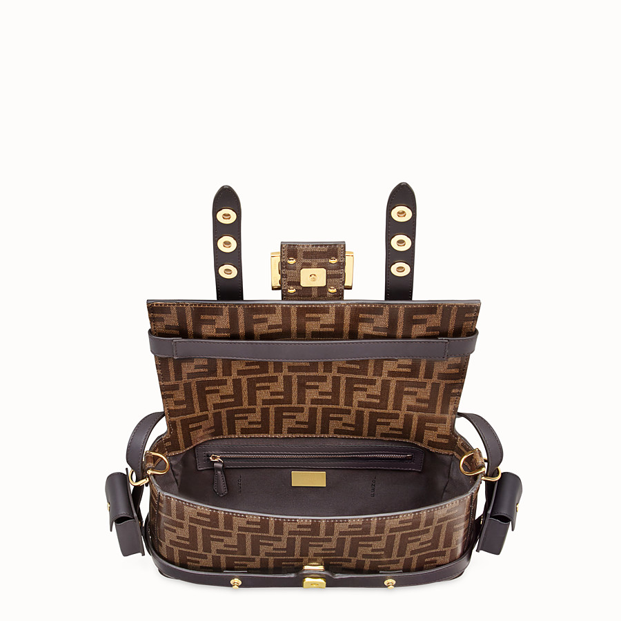 FENDI BAGUETTE WITH CAGE - Brown fabric bag - view 6 detail