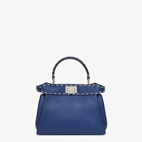 Blue full grain leather bag