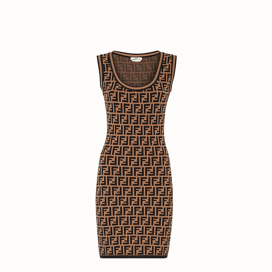 FENDI SHORT DRESS - Multicolour fabric mini dress - view 1 detail