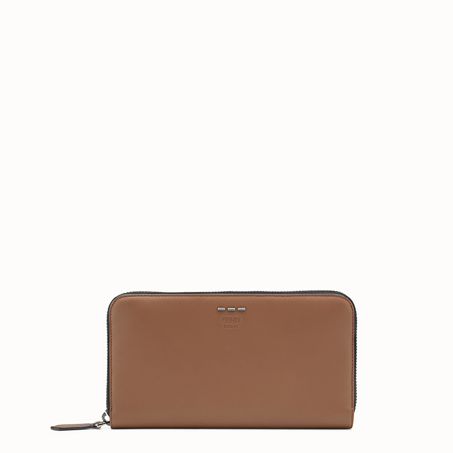 FENDI WALLET - Mocha-coloured leather zip-around wallet - view 1 detail