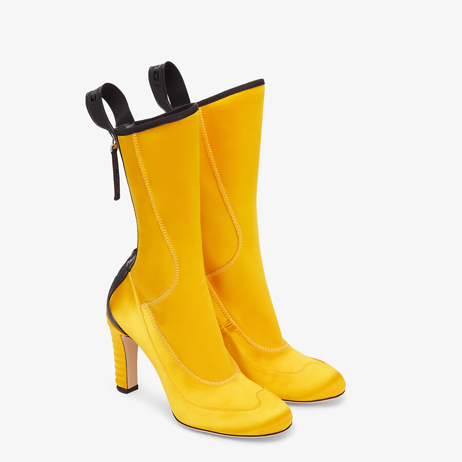 FENDI ANKLE BOOTS - Yellow tech satin ankle boots - view 4 detail