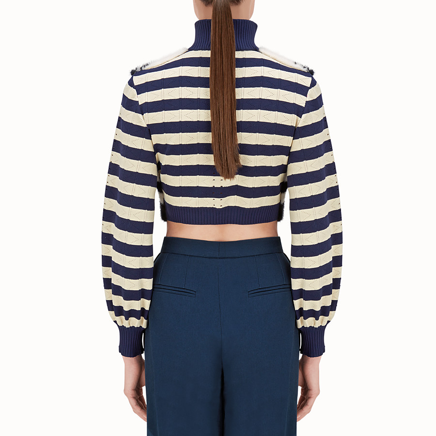 FENDI JACKET - Striped knitted jacket with fur - view 2 detail