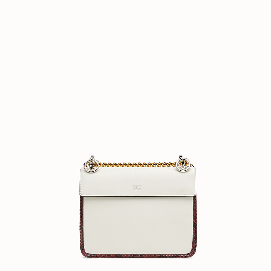 FENDI KAN I F SMALL - White leather mini-bag with exotic details - view 3 detail