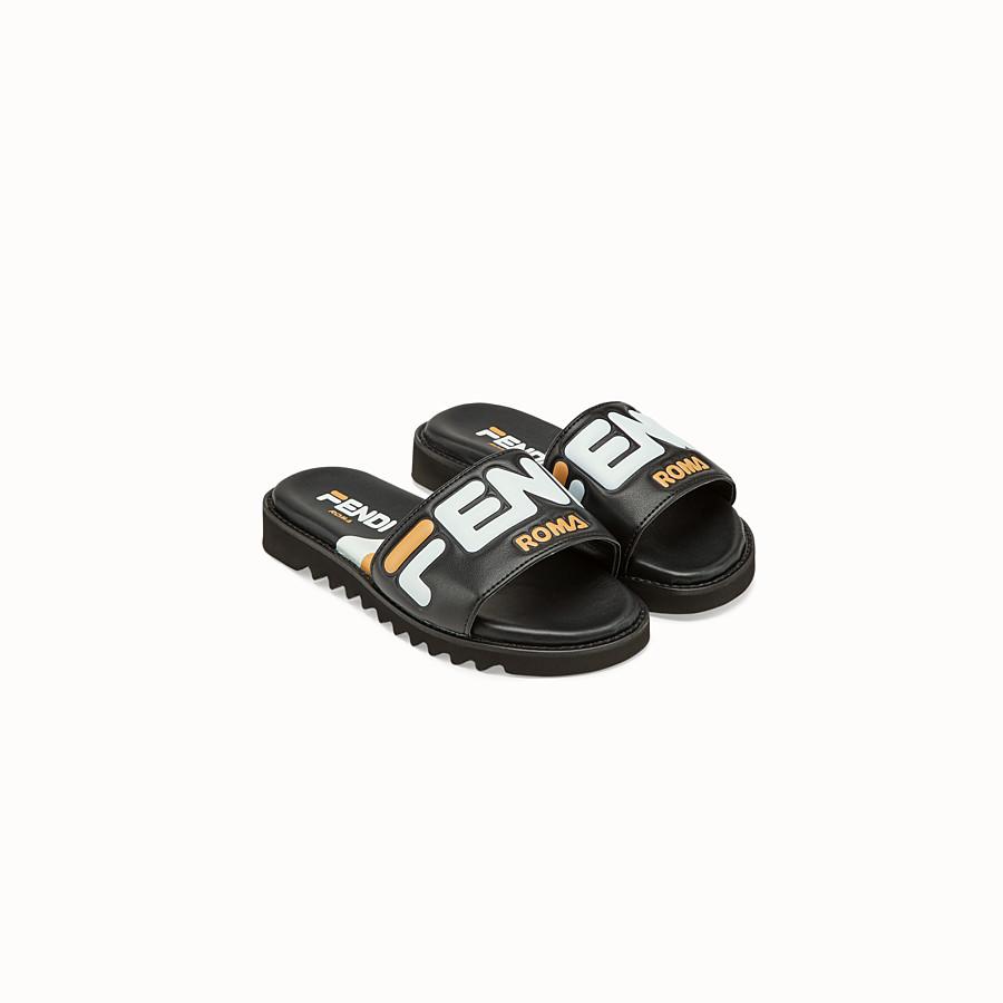 FENDI SANDALS - Black leather slides - view 2 detail
