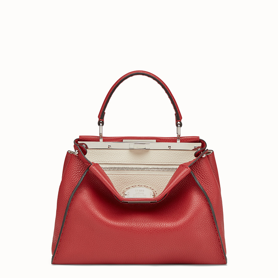 FENDI PEEKABOO ICONIC MEDIUM - Red leather bag - view 1 detail
