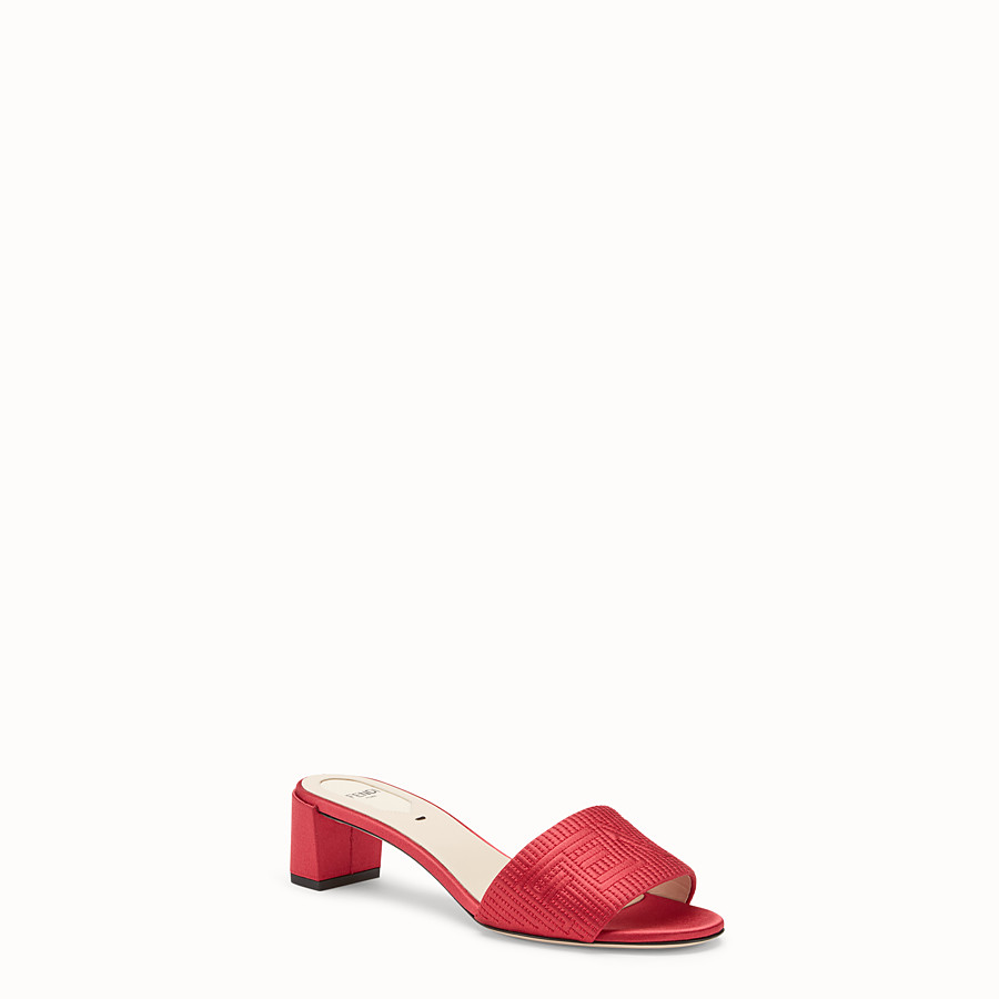 FENDI SABOTS - Red satin sandals - view 2 detail
