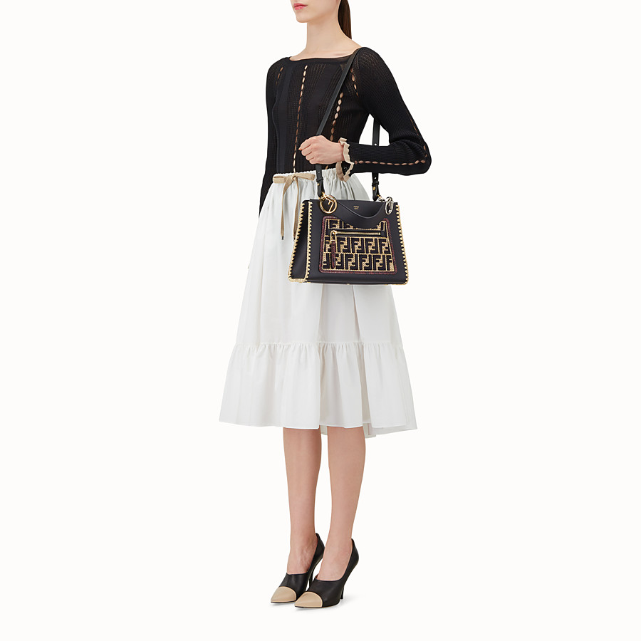 FENDI RUNAWAY SMALL - Black leather bag with exotic details - view 5 detail