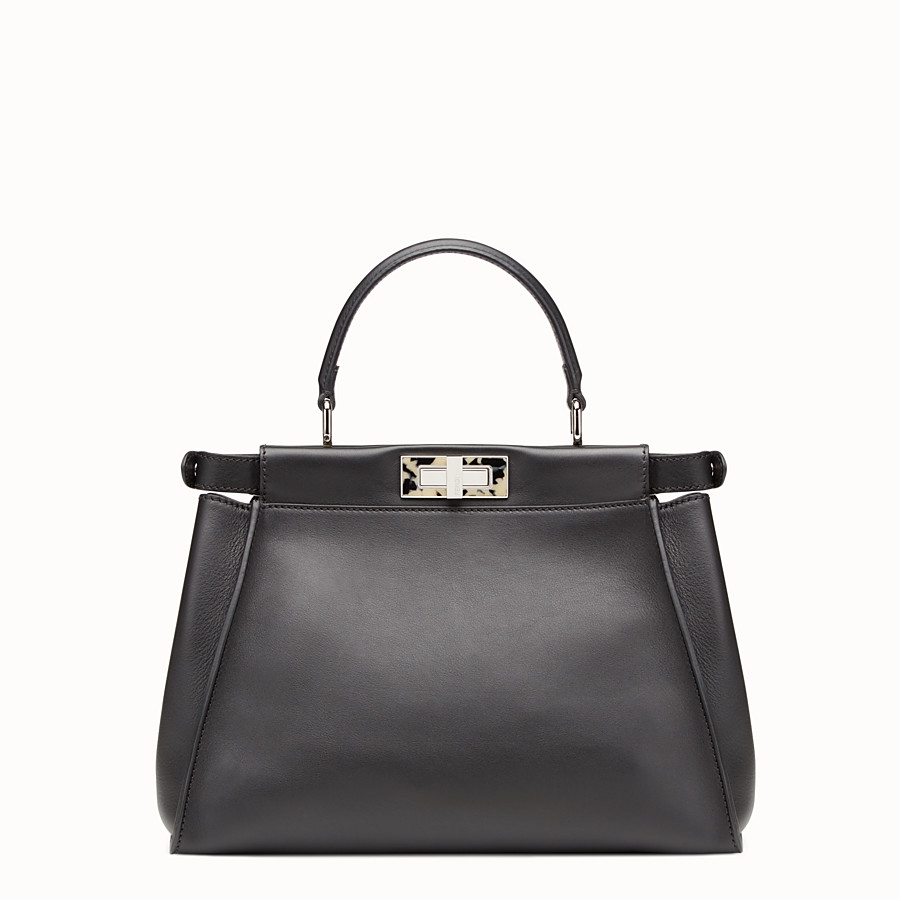FENDI PEEKABOO REGULAR - Black leather handbag - view 3 detail