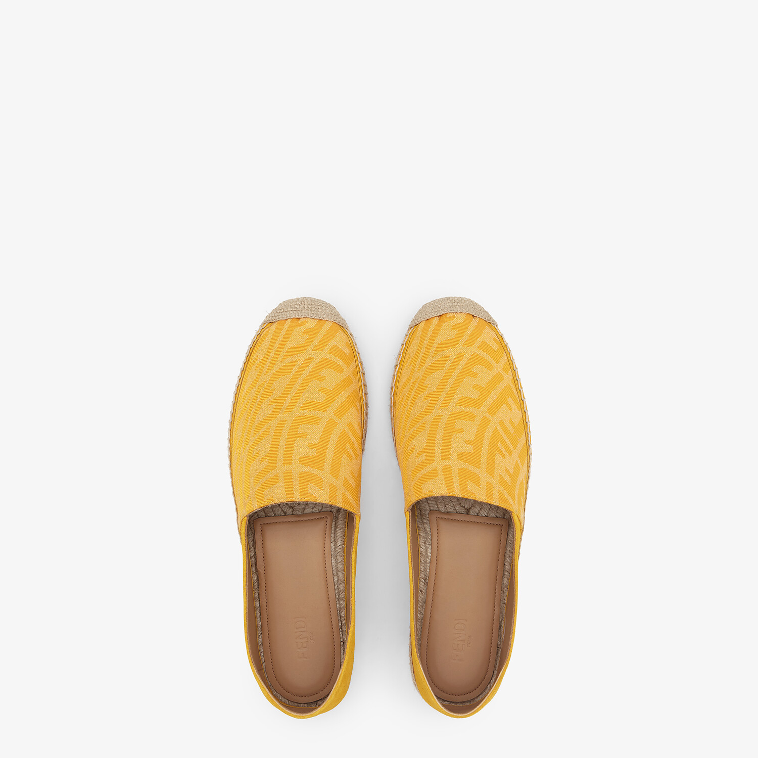 FENDI ESPADRILLES - Yellow fabric and suede espadrilles - view 4 detail