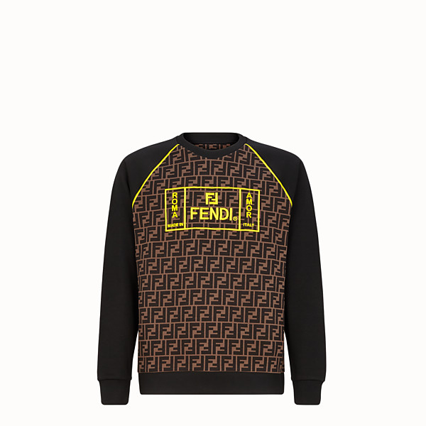 FENDI SWEATSHIRT - Black cotton jersey sweater - view 1 small thumbnail