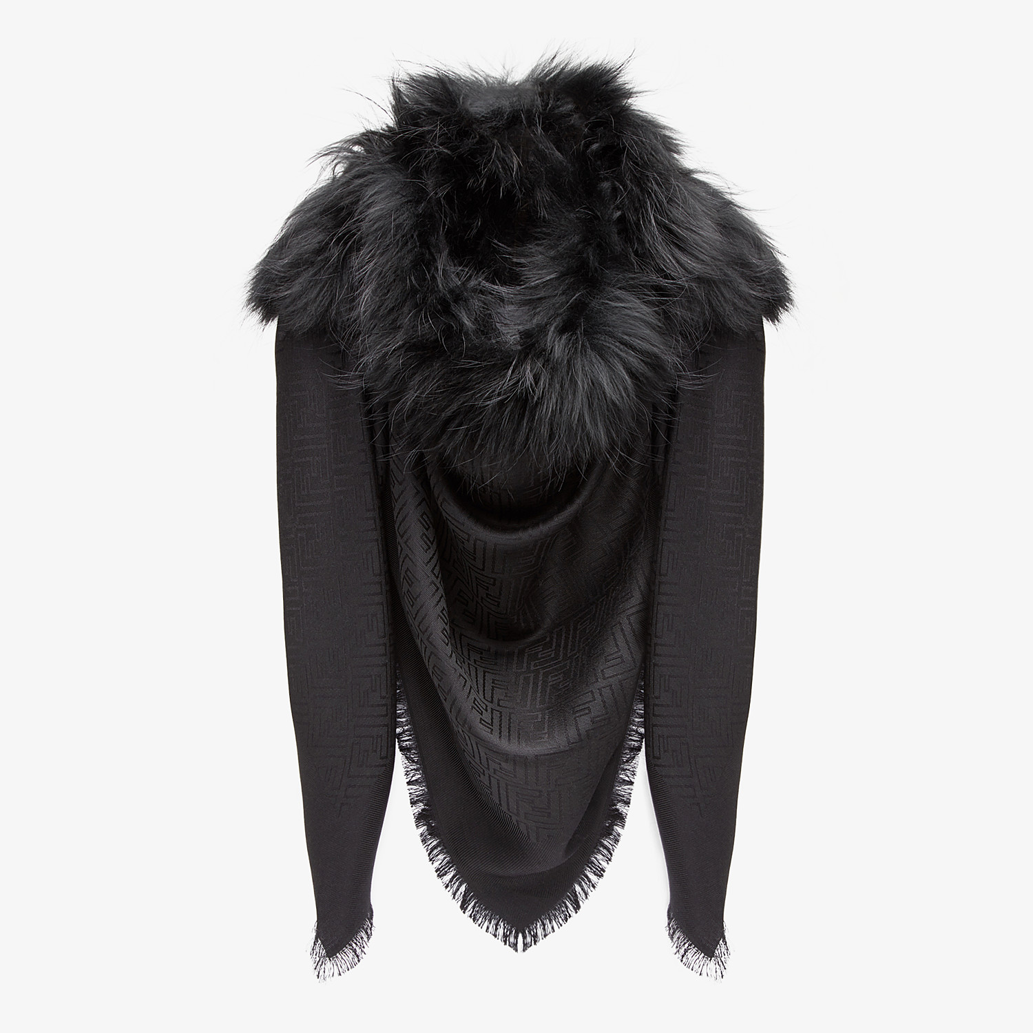 FENDI TOUCH OF FUR SHAWL - Black silk and wool shawl - view 2 detail