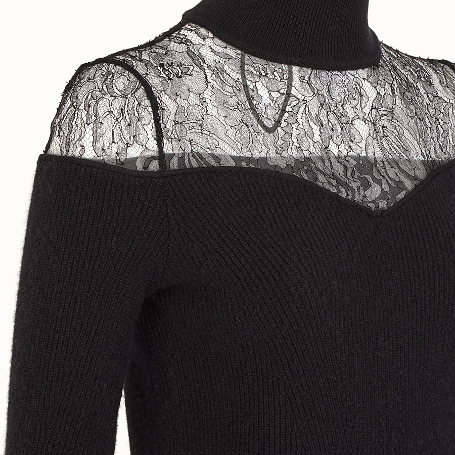 FENDI JUMPER - Black wool jumper - view 3 detail