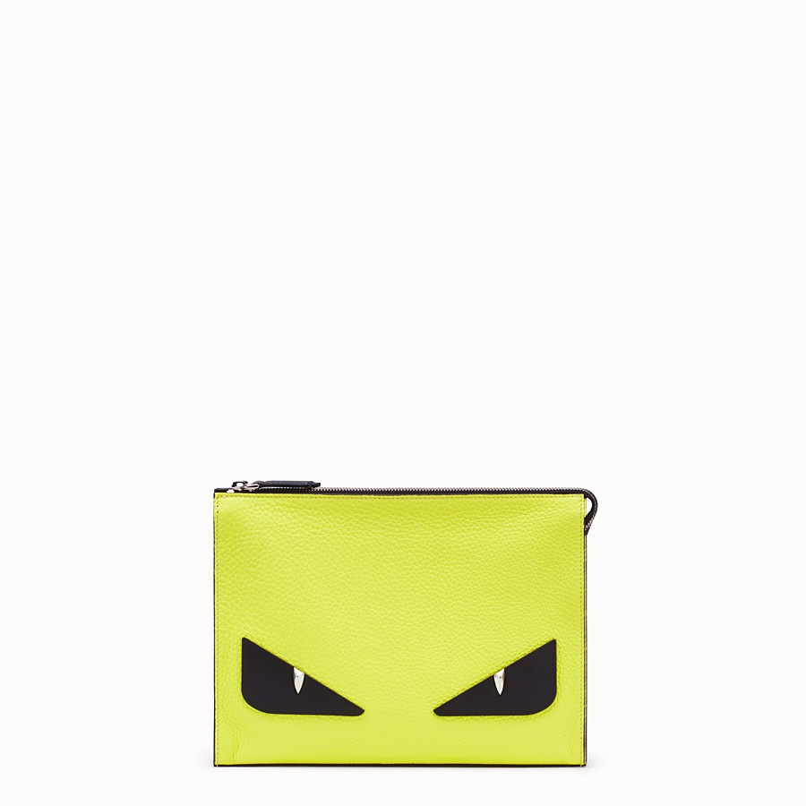 FENDI CLUTCH - Yellow Romano leather pochette - view 1 detail